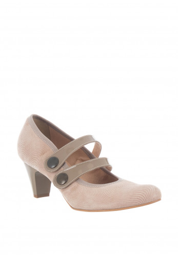Bioeco by Arka Leather Strap Heeled Shoes, Beige