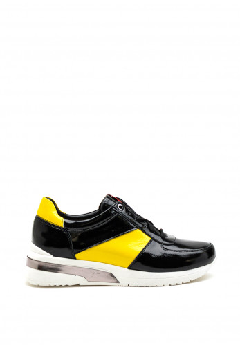 Bioeco by Arka Patent Colour Block Trainer, Black Yellow