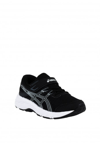 Asics Boys Contend 6 Velcro Strap Trainers, Black & White