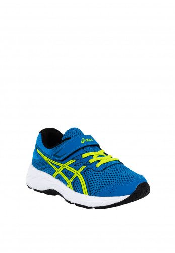 Asics Boys Contend 6 Velcro Strap Trainers, Blue & Lime Green