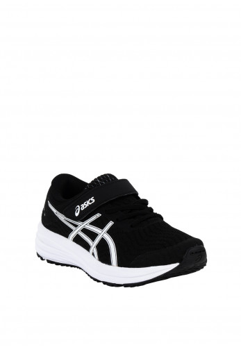 Asics Boys Patriot 12 Velcro Strap Trainers, Black & White