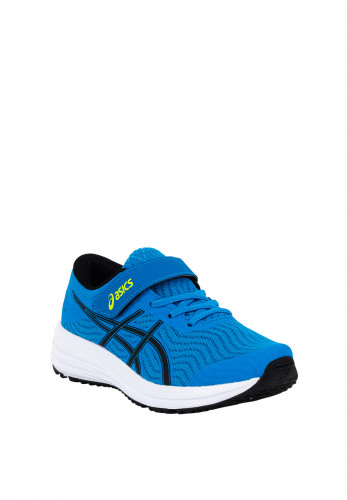 Asics Boys Patriot 12 Velcro Strap Trainers, Blue & Black