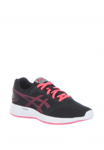 Asics Girls Patriot 10 Trainers, Black and Pink
