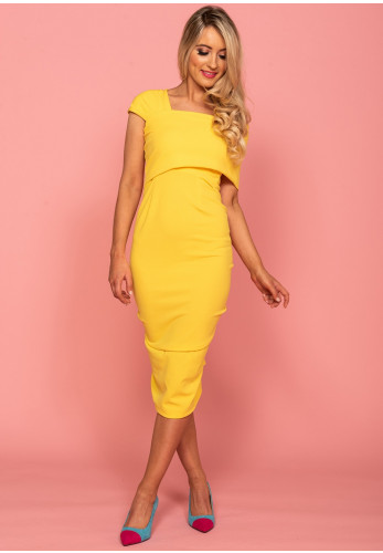 Atom Label Rubidium Bodycon Dress, Yellow
