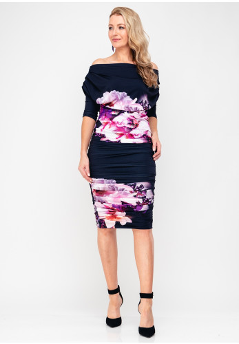 Atom Label Oxygen Floral Bardot Dress, Navy & Pink