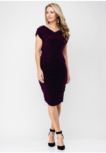 Atom Label Tyla Wrap Bodice Ruched Dress, Plum