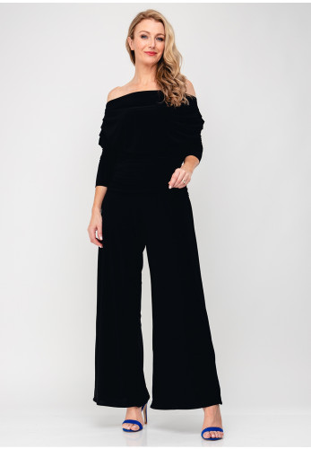 Atom Label Carbon Bardot Jumpsuit, Black