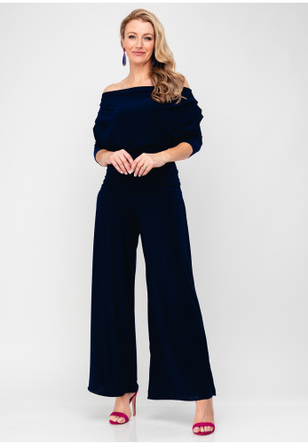 Atom Label Carbon Bardot Jumpsuit, Navy