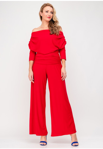 Atom Label Carbon Bardot Jumpsuit, Red