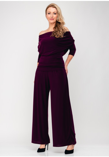 Atom Label Carbon Bardot Jumpsuit, Plum