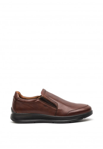 Atrai Mens Zen Leather Slip on Shoe, Brown