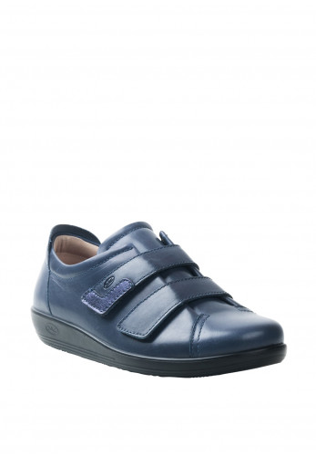 Atrai Womens Leather Velcro Strap Comfort Shoes, Dark Blue