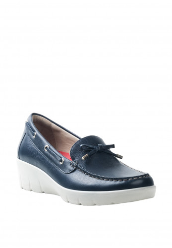 Atrai Womens Leather Loafer Style Comfort Shoes, Dark Blue