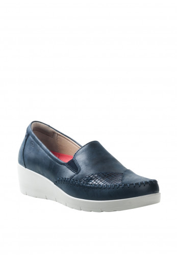 Atrai Womens Leather Stitched Design Comfort Wedged Shoes, Dark Blue