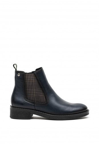 Atrai Leather Check Panel Ankle Boots, Navy