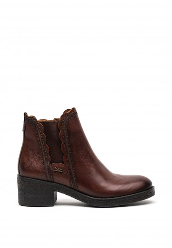 Atrai Leather Chucky Block Heel Ankle Boots, Brown