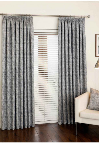 "Aura Amalfi 65"" x 90"" Luxury Pencil Pleat Curtains, Midnight"