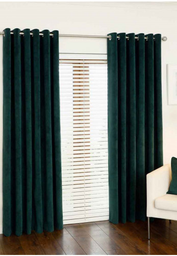 Aura Luxury Eyelet Curtains, Emerald Green