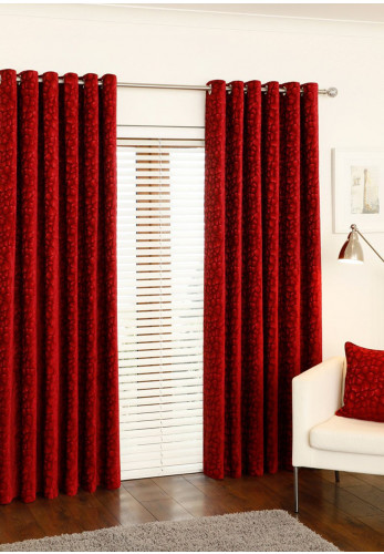 "Aura Sanoma 90"" x 90"" Luxury Eyelet Curtains, Claret"