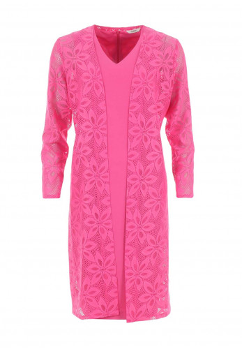 Avalon Pencil Dress & Sheer Lace Coat, Pink