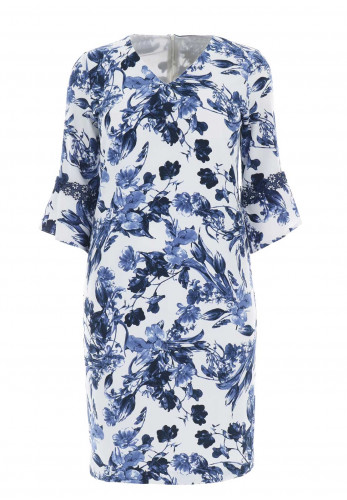 Avalon Floral Bell Sleeve Midi Dress, Blue & White