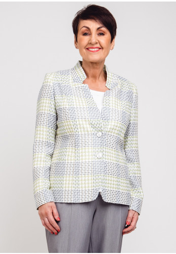 Avalon Boucle Knit Blazer Jacket, Green & Blue