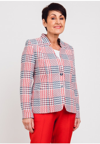 Avalon Boucle Knit Blazer Jacket, Red & Navy