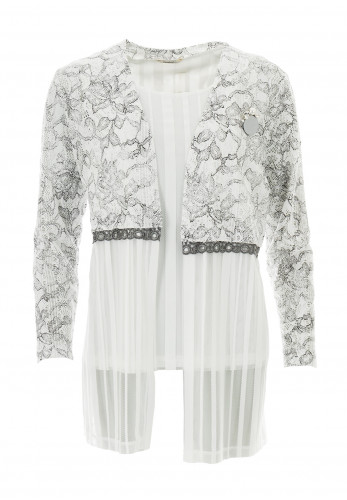 Avalon Embroidered Sheer Twinset, Silver & White