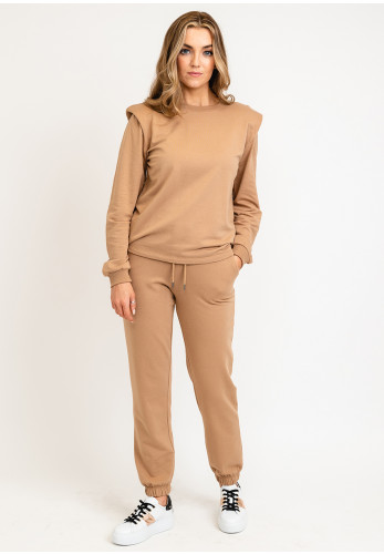B Young Padded Shoulders Sweater, Beige
