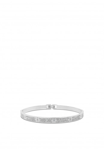 Absolute Crystal Row Bangle, Silver