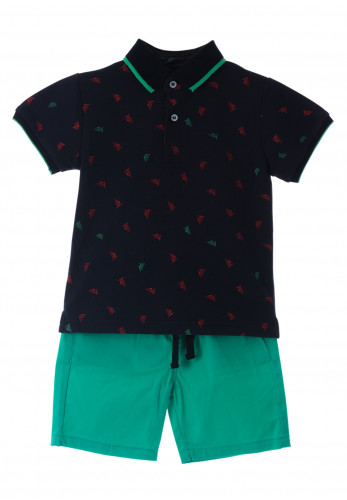 Babybol Baby Boys Wind Sailing Design 2 Piece Polo Top and Short Set, Navy & Green