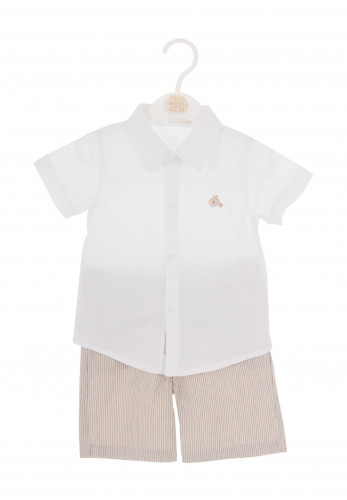 Babybol Baby Boys Shirt and Striped Shorts, White