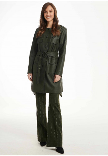 Badoo Faux Leather Buttoned Coat Dress, Olive Green
