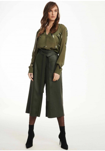 Badoo Faux Leather Culottes, Olive Green