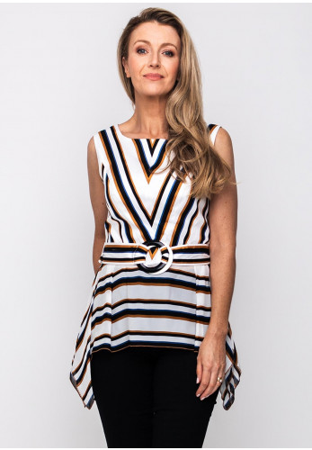Badoo Striped Peplum Top, White Multi
