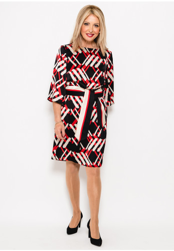 Badoo Printed Satin Dress, Black Multi