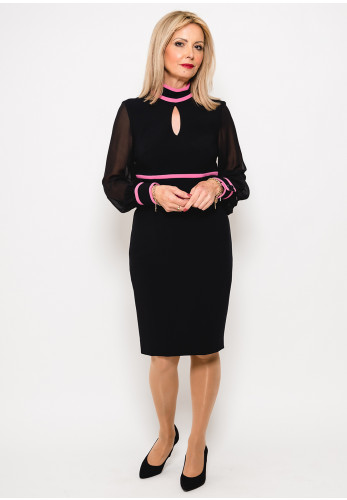 Badoo Contrast Trim Chiffon Sleeve Dress, Black