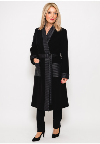 Badoo Ribbed Trim Felt Coat, Black