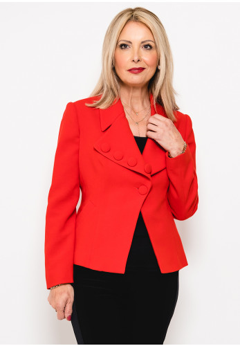 Badoo Button Trim Crepe Jacket, Red