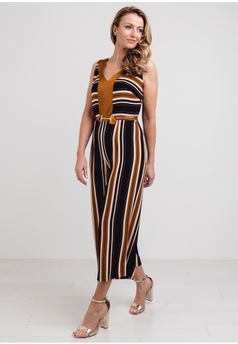 Badoo Striped Culotte Jumpsuit, Brown Multi