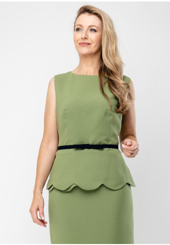 Badoo Scallop Hem Belted Top, Green