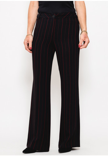 Badoo Pinstripe Straight Leg Trousers, Black