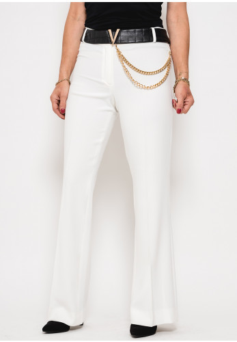 Badoo Chain Trim Straight Leg Trousers, Off White