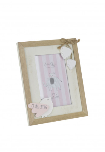 Petit Cheri for Baby Vintage Christening MDF Photo Frame, Pink