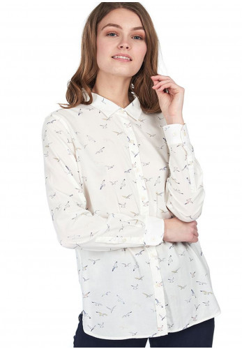 Barbour Womens Safari Bird Print Shirt, Cream