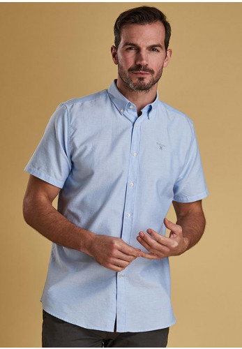 Barbour Oxford Short Sleeved Shirt, Sky Blue