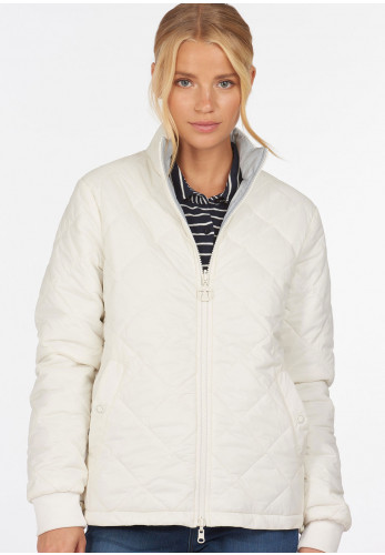 Barbour Womens Southport Reversible Quilted Jacket, White & Grey
