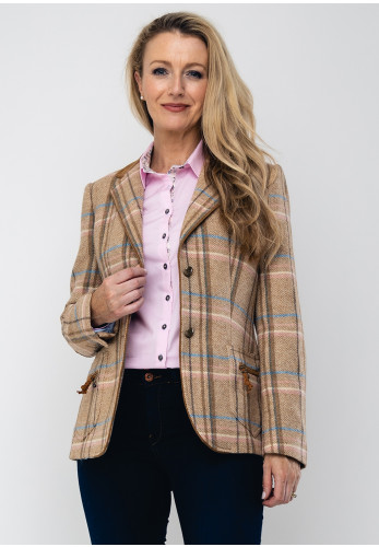 Bariloche Logrono Checked Tweed Blazer Jacket, Beige