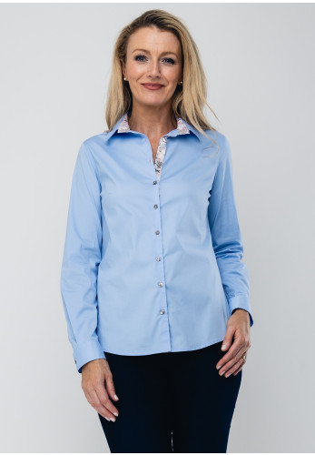 Bariloche Barbate Floral Trim Blouse, Pale Blue