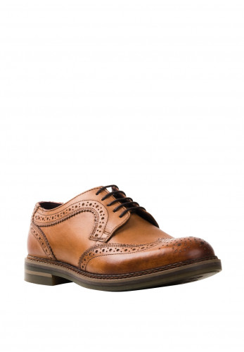 Base London Kent Burnished Brogue Shoe, Tan